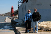 Jane and Lisa out on the Grand Haven Pier