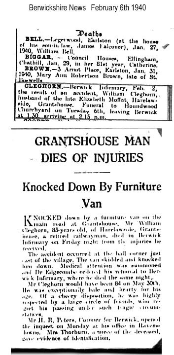 Death Notice and Article from Berwickshire News about William Cleghorn