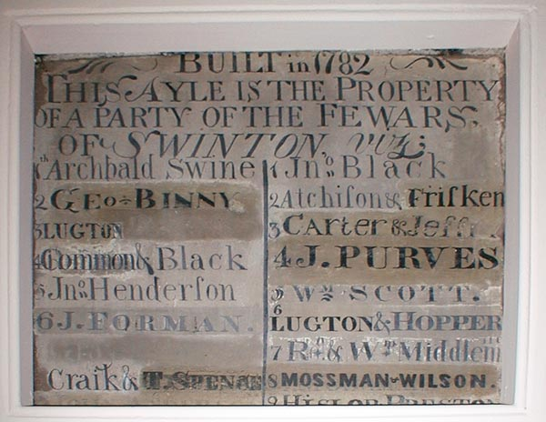 Sign on the wall of the Swinton Church