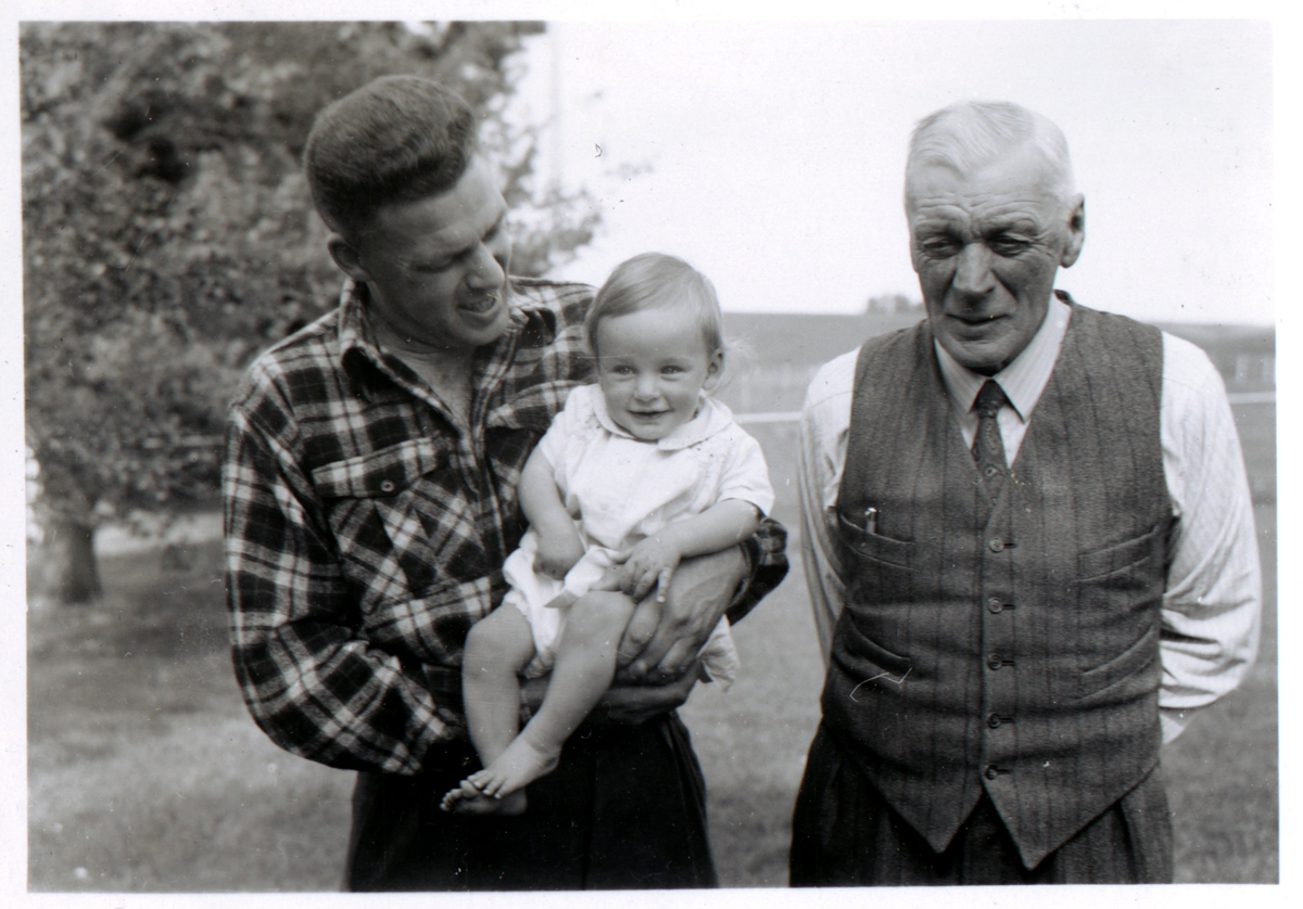Dad (Duncan Moffat) with Baby Me (Roger Moffat) and Grandad (William Ernest Moffat)