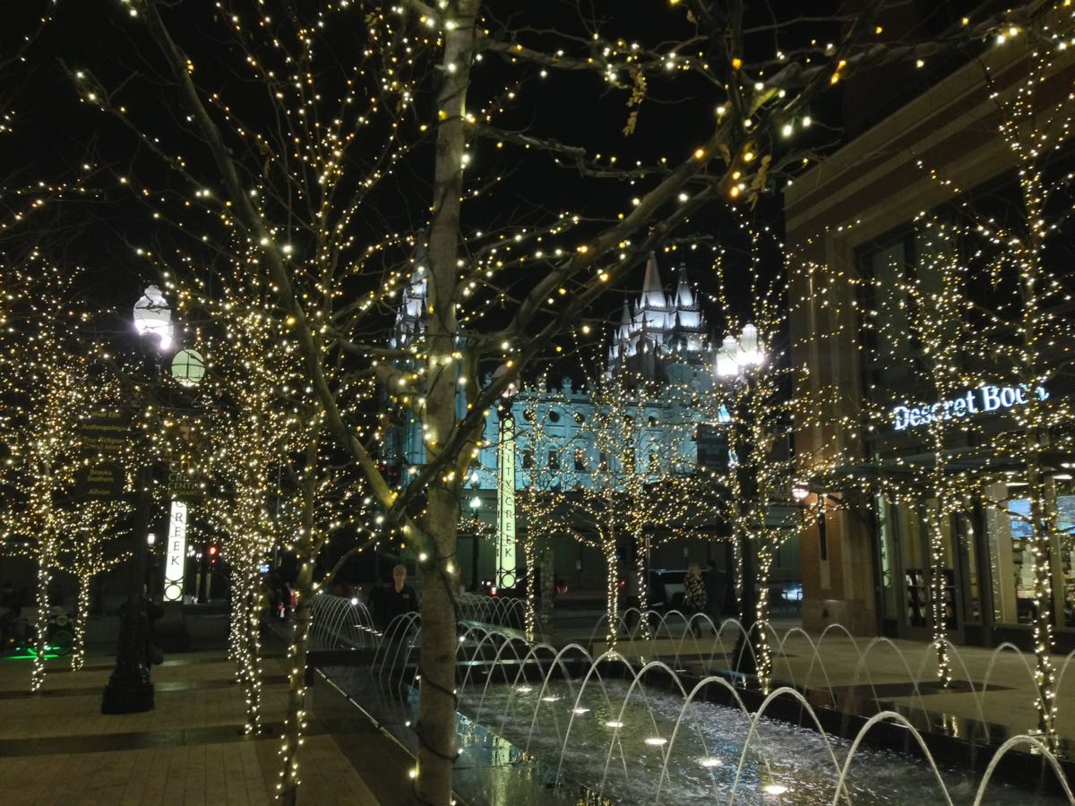 City Creek Lights, the Fountain, and the Mormon Temple