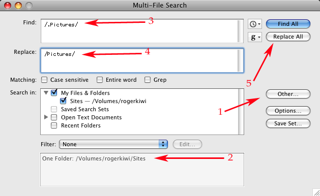 TextWrangler Multi File Search