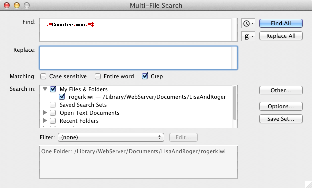 Using TextWrangler for a grep Find and Replace