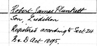 Robert James Plunkett - Son, Informant
