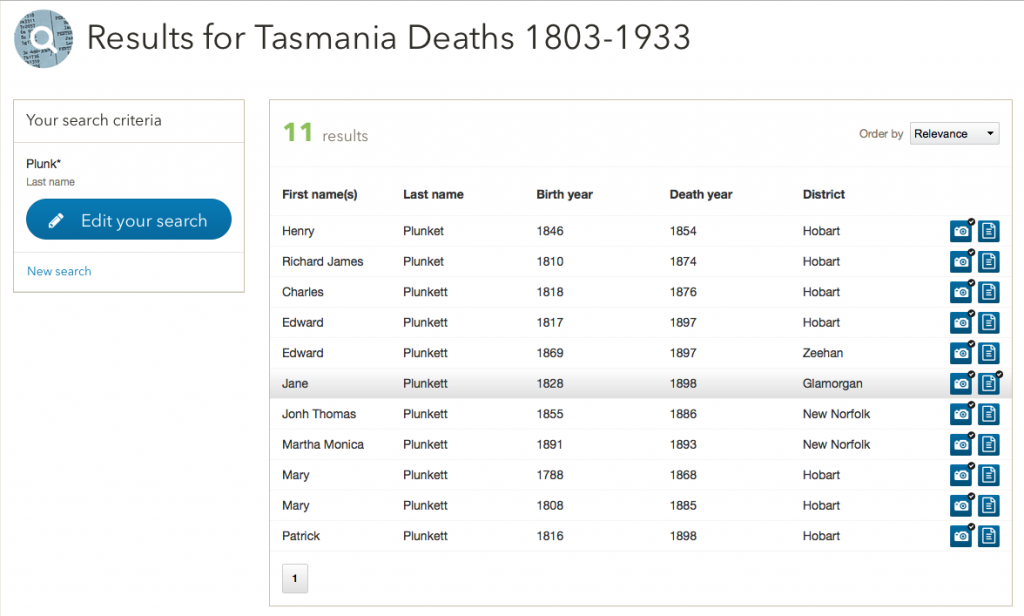 11 Plunket(t)s shown in the Tasmanian Deaths 1803-1933 database. The highlighted line shows the pay dirt line.