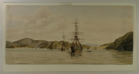 Two ships, Pladda and Robert Henderson at Port Chalmers, 1861